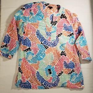 Talbots paisley print tunic top size S